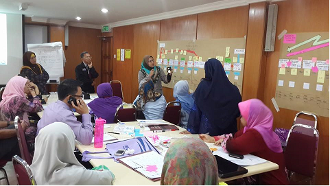 Puan Siti Rozana, UPM Registrar's Office was making presentation to the Value Stream Mapping which has been made by the group and the process suggestions which could be done to improve the efficiency of work processes results UPM students.